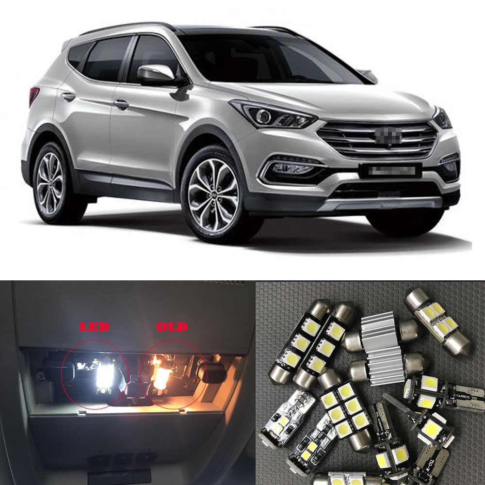 7X Wit Canbus led auto-interieur verlichting Pakket Kit voor 2013-2017 2018 2019 Hyundai Santa Fe led interieur dome Kofferbak verlichting