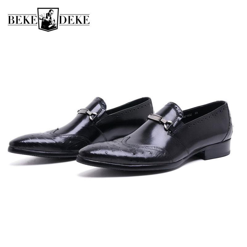 Mens Genuine Leather Shoes Business Formal UK Fashion Vintage Wing Tip Slip On Dress Shoes Men Wedding Party Sapato Masculino 2016 new arrival top quality men s slip on basic oxfords real cowhide leather formal wedding dress shoes men sapato masculino 46