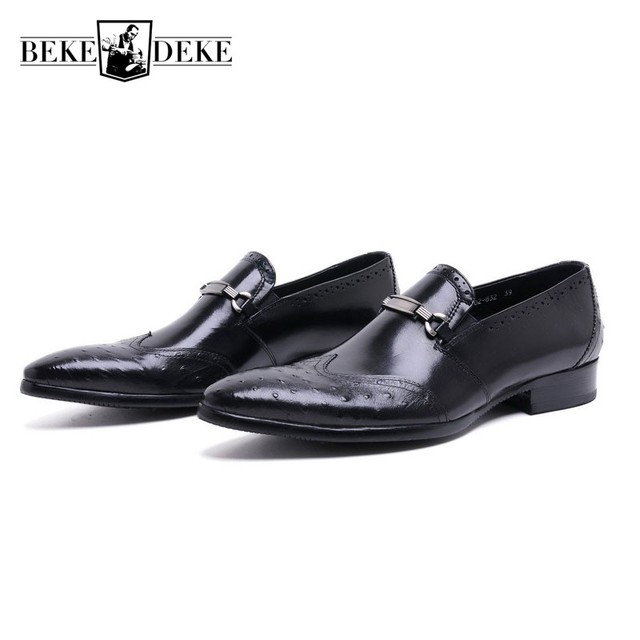 4f5a4b5d65aca Mens Genuine Leather Shoes Business Formal UK Fashion Vintage Wing Tip Slip  On Dress Shoes Men Wedding Party Sapato Masculino-in Formal Shoes from ...