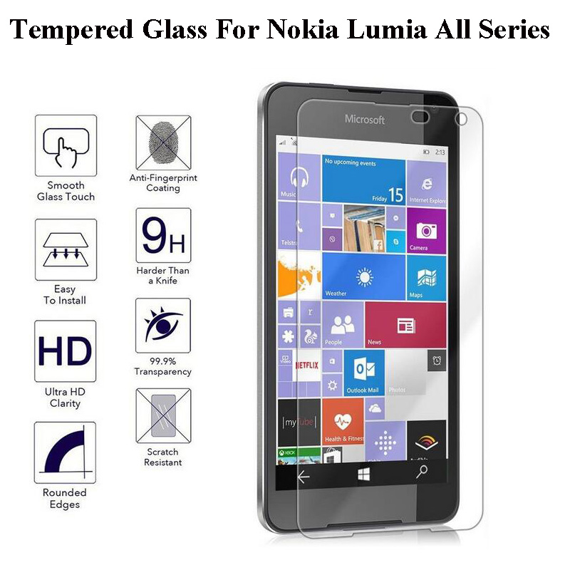 GzPuluz Glass Protector Film 100 PCS for Microsoft Lumia 535 0.26mm 9H Surface Hardness 2.5D Explosion-Proof Tempered Glass Screen Film