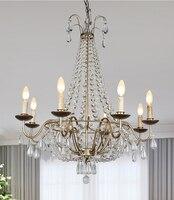Phube Lighting American Style Retro Crystal Chandelier 8 Light Antique Silver Chandelier Lustre Light Home Lighting