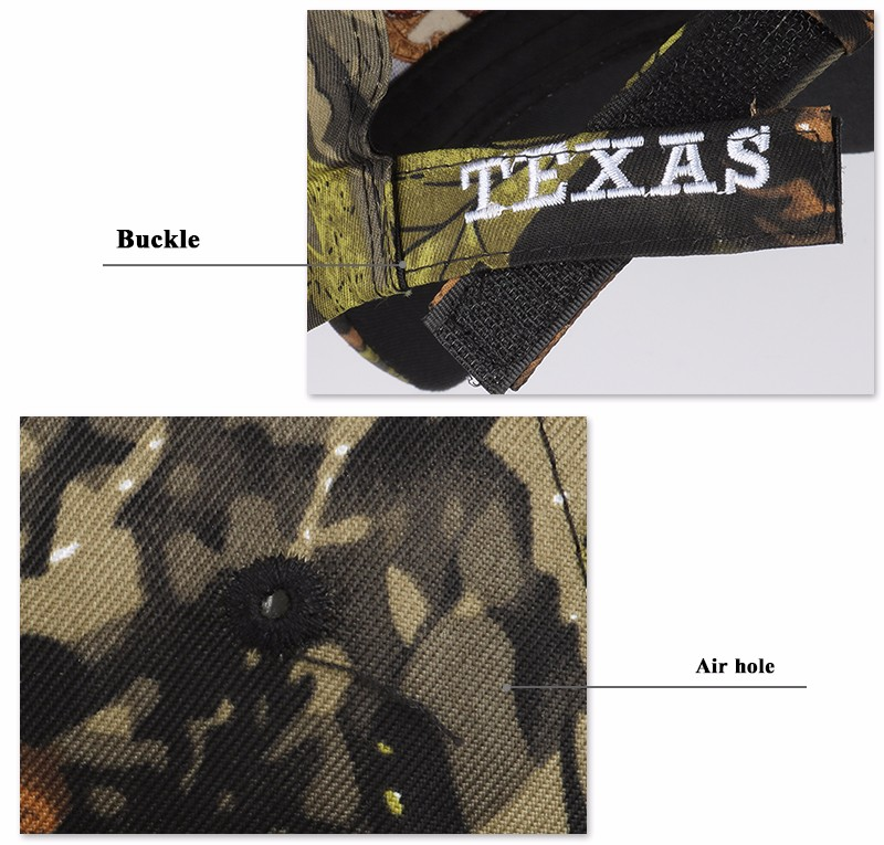 """Embroidered """"Texas"""" and Bull Horns Camo Baseball Cap - Texas Embroidery and Eyelet Detail Views"""