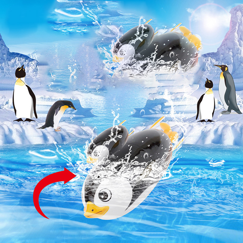 2pcs Kids Interaction Bath Toys Penguin,Electric Diving Summer Swimming Pool Bathtub Animals Toys Shower Toys Infant Toddlers