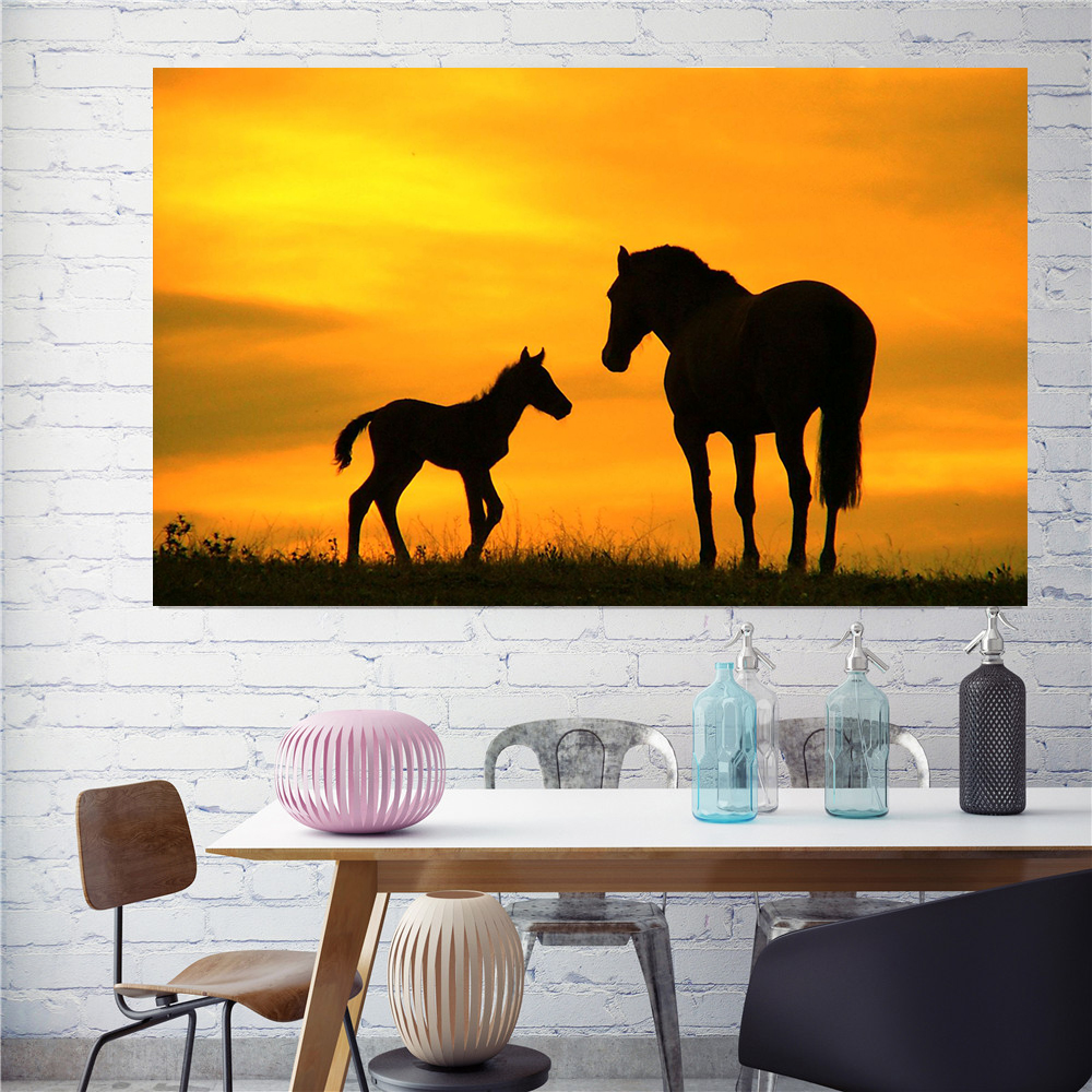 Wall Art Steppe Sunset Landscape Horse Silhouette Posters Canvas Prints Wall Pictures for Living Room Home Decor Pop Art