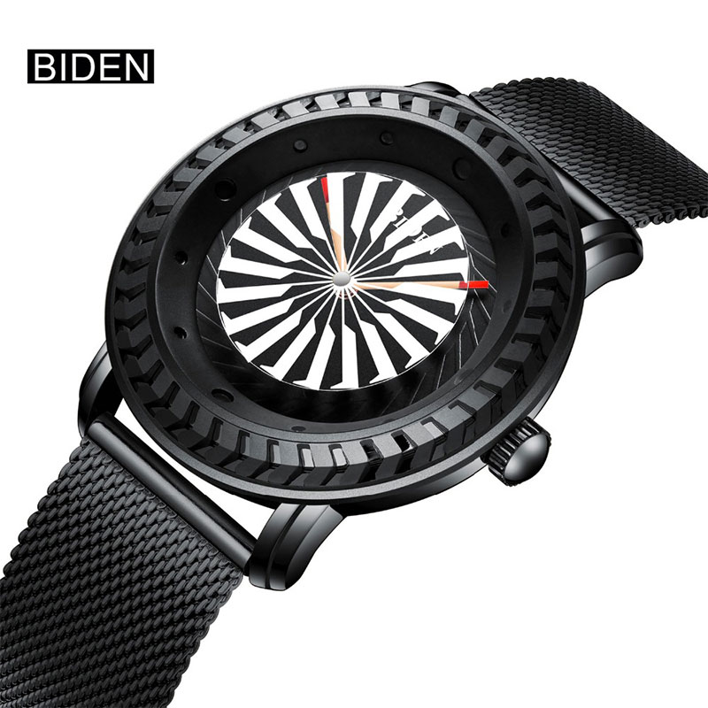 Luxury Men Waterproof Quartz Watches BIDEN New Creative Stainless Steel Band Sport Military Wrist Watch Clock relogio masculino biden new design luxury men watches date genuine leather military quartz watch waterproof sport men wrist watch montre relojes