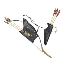 1 Set Archery Bow Arrow Bag Quiver Black Leather Adjustable Recurve Shooting Accessory