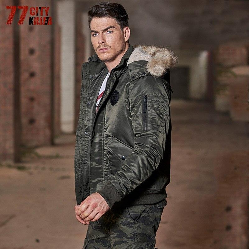 77 город killer2017 большой Размеры теплая верхняя одежда зимняя куртка Для мужчин ветрозащитный капюшон куртки теплая Тонкий Сгущает Мех животн...