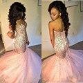 Brillante Blush Pink Moldeado Cristalino de La Sirena Baile Vestidos Largos 2017 Mujeres Formal Vestido de Noche Vestido de Lace Up Volver Sweetheart Africano