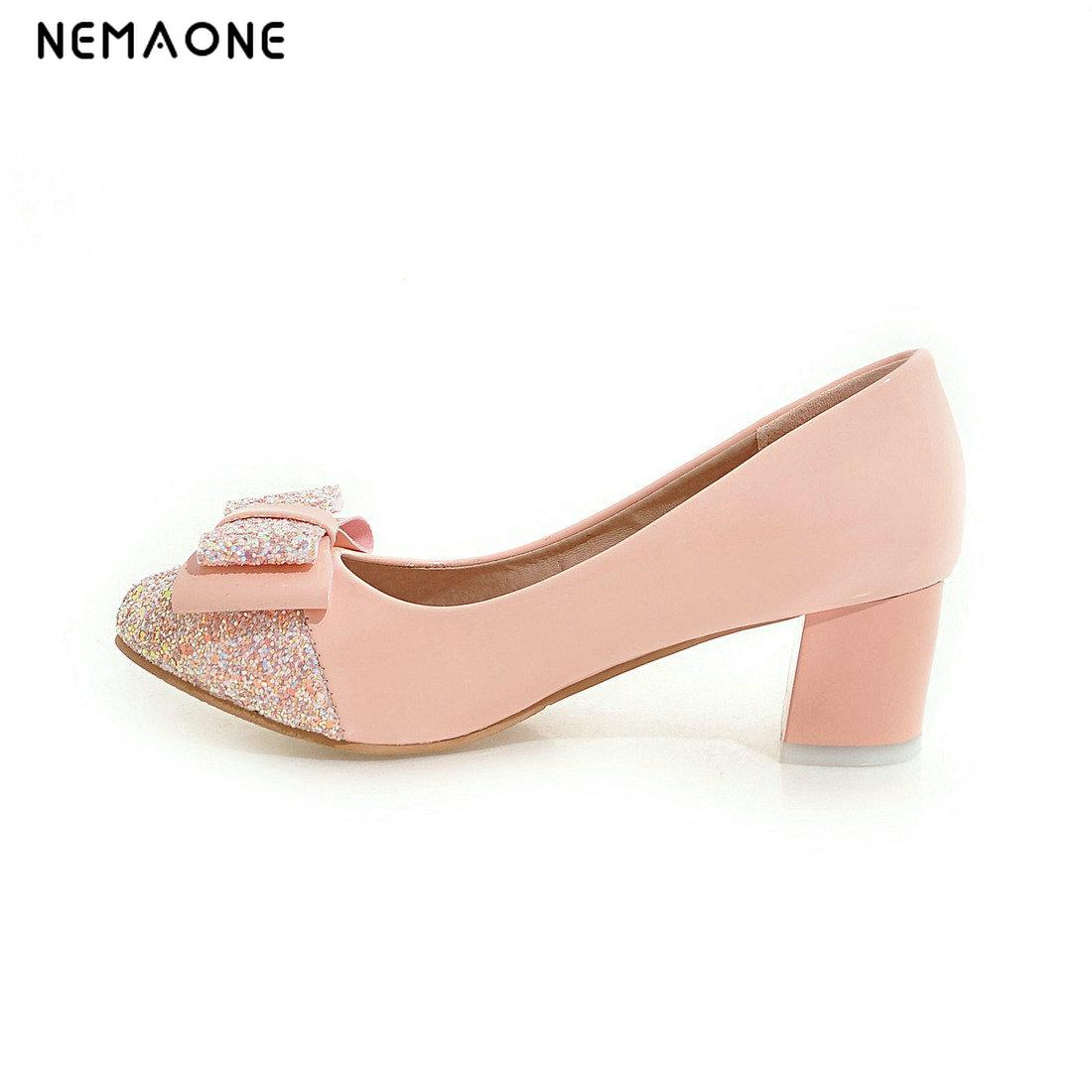 NEMAONE 2017 Women Pumps Square High Heel Platform Pointed Toe Slip On Ladies Wedding Shoes Size 34-43 vinlle 2017 women pumps college style square med heel vintage slip on pu leather shoes casual round toe girl shoes size 34 40