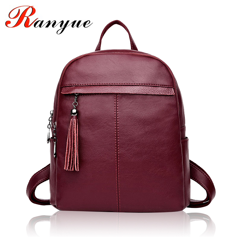 RANYUE New Tassel Backpack Women Leather Famous Brand School Bags For Girls Teenagers Female School Shoulder Bag Bagpack Mochila retro tiny bell tassel anklet for women