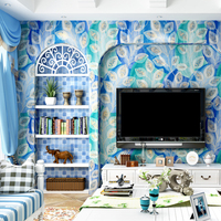 Blue Peacock Feather Wallpapers 3D Mediterranean Style Rustic Wall Paper Roll for Walls Background Living Room