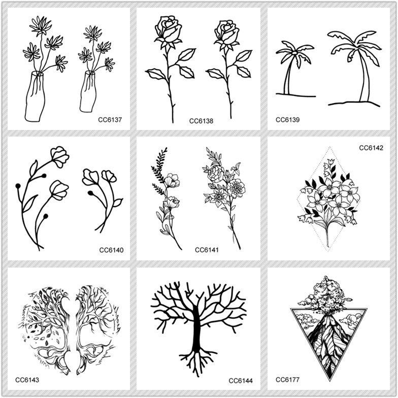 MB Black White Style Tattoo Sticker Tree Taty Flower Temporary Tattoo Sticker For Body Art Tatouage Wolf Space Fake Tatoo