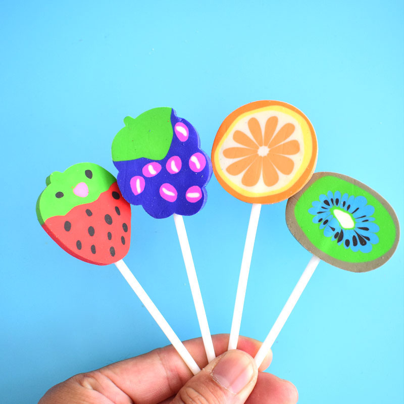Fruit Design Eraser Grape Strawberry Orange Kiwi Shape Erasers Students' Gift Prize Office School Supplies Joy Corner