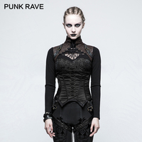 PUNK RAVE Steampunk Sexy Overbust Bustier Black Stocking Women Corset Bandage Bustier Bralette Crop Top Strappy
