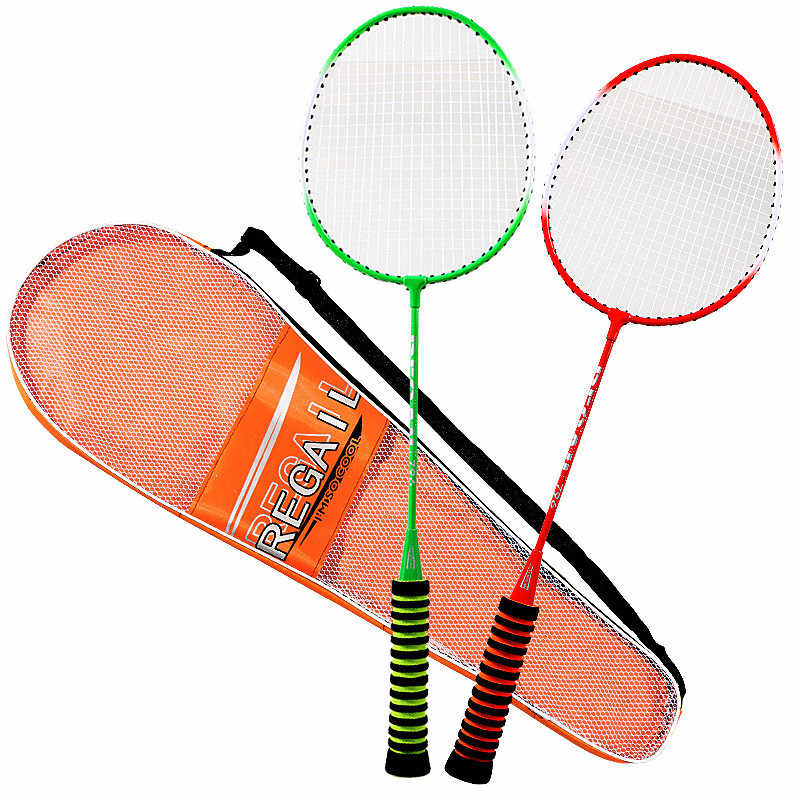 1 Pair Unisex Badminton Racket High Elastic Sponge Grip Shot with bag