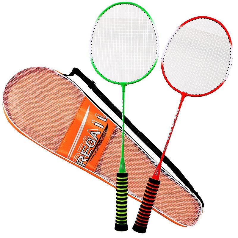 1 Pair Unisex Badminton Racket High Elastic Sponge Grip Shot With Bag