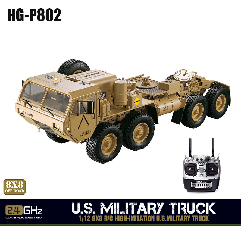 HG 1/12 RC US Military Truck Model Metal 8*8 Chassis Car Radio Motor Servo P802 TH04721