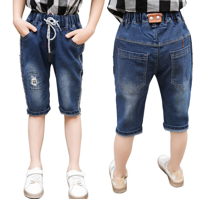 b784646e11a4 High Quality Baby Boys Jeans Shorts Elastic Waistband Summer ...