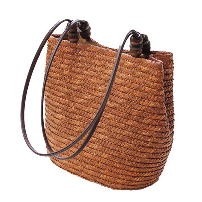 FGGS Knitted Straw Bag Summer Bohemia Fashion Women Handbags Stripes Shoulder Bags Beach Bag Big Tote Bags(Brown)FGGS Knitted Straw Bag Summer Bohemia Fashion Women Handbags Stripes Shoulder Bags Beach Bag Big Tote Bags(Brown)
