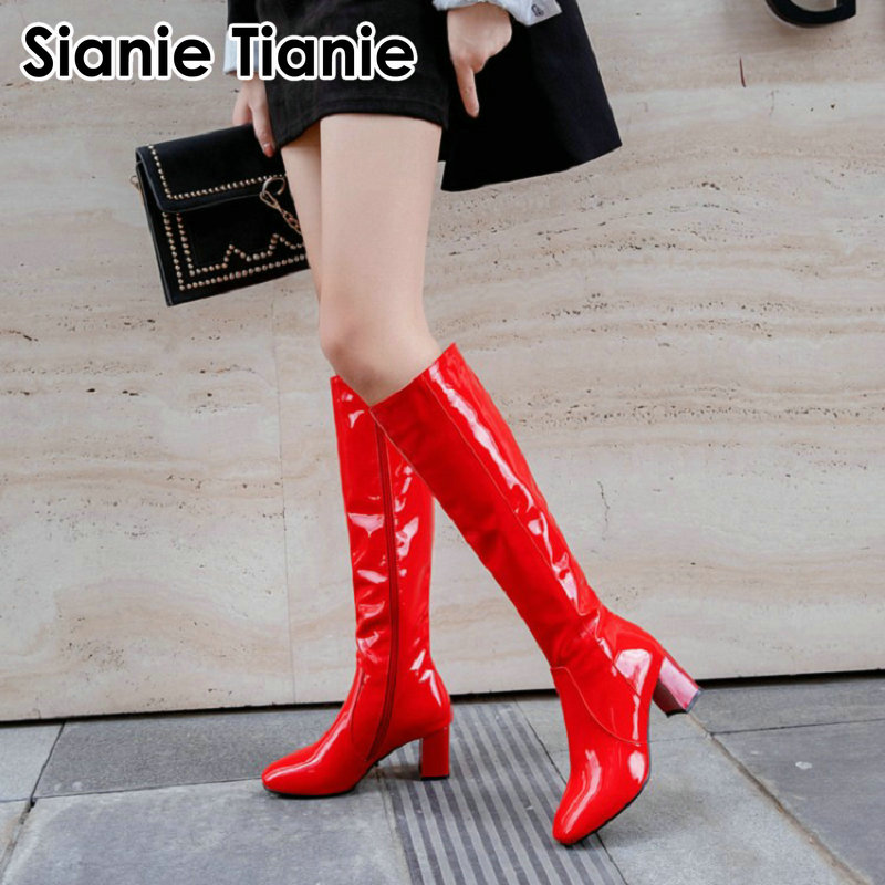 Sianie Tianie 2020 winter patent PU leather white red black woman boots block high heels women knee-high boots shoes big size 45