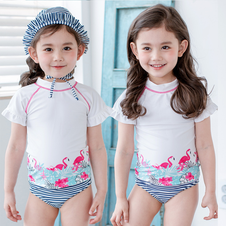 Split Swimsuit For Girls Children's Summer Beach Sun Protection Kids Seasides Swimwear  Spring Kids Cute Surfing Suit With Cap
