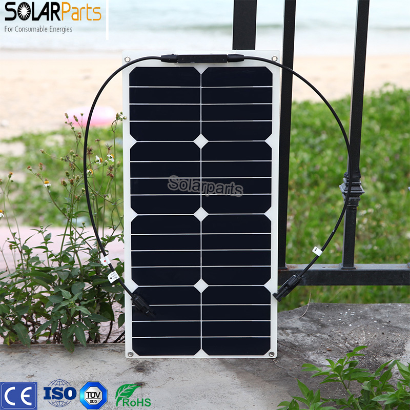Solarparts 1x 25W flexible solar panel mono module for 12V battery with USA solar cell with MC4 connector cell DIY kits charger flexible solar panels 25w for boats with connection box 0 9m cable mc4 connector 12v