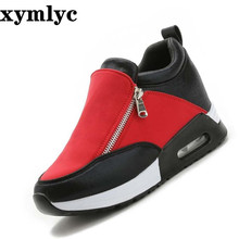 Spring explosion models womens shoes Korean version zipper solid color round head increased trend casual flat Wedge PU