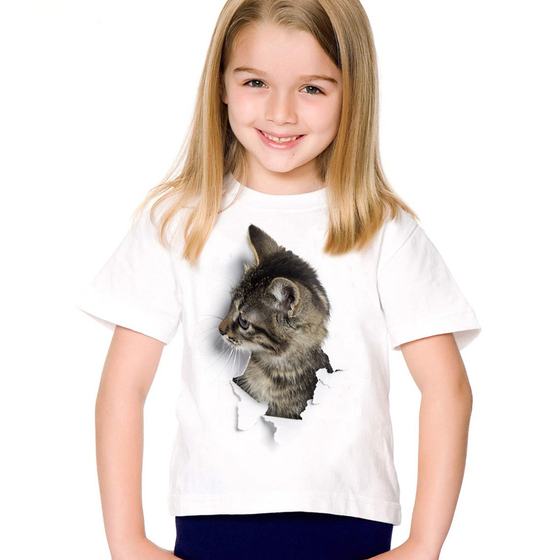 HTB1NPHFSFXXXXb5XpXXq6xXFXXXf - 2017 fashion summer cute children brand clothing for kids girl short sleeve print 3d cat t shirts tops baby clothes