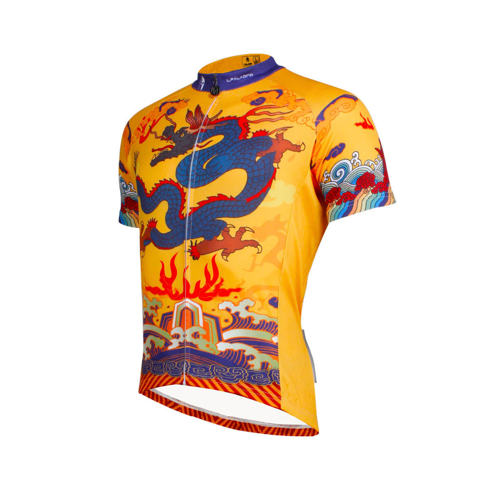 Free Shipping Chinese Dragon Totem Pattern Mens Polyester Short Sleeve Cycling Jersey Breathable Bike Clothes Set Size S To 6XL