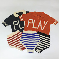 BOBOZONE Letter PLAY Polo-shirt knit pants 2017 new Shorts shirt for baby boys girls kids clothing  tee top