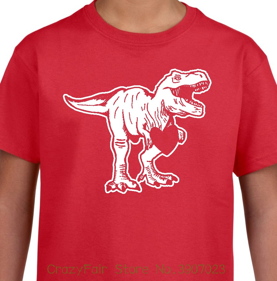 cee60e9b Dino Love Youth T-shirt Valentines Day T - Rex Funny Boys Girls Kids Tee  Customize Tee Shirts