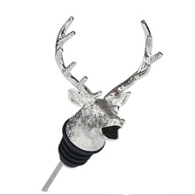 Creative stainless steel deer head wine pourer unique cork aerator bar tool