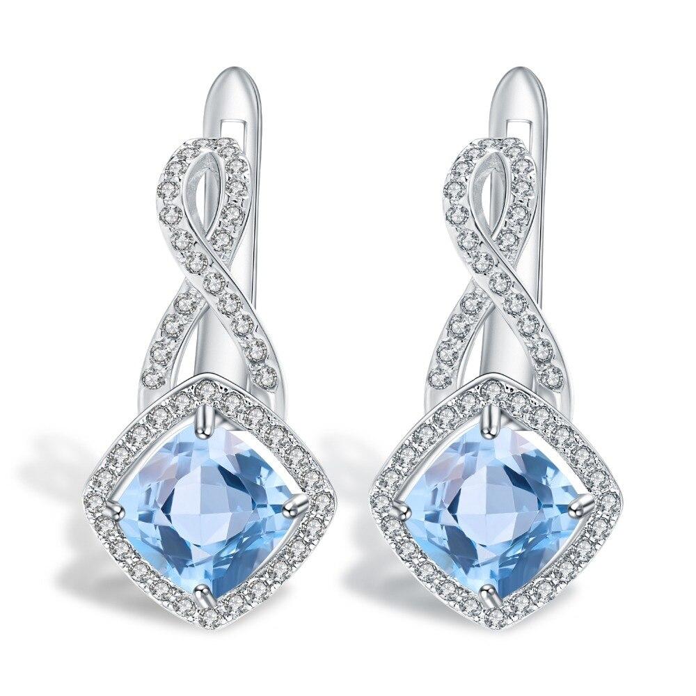 GEM'S BALLET 4.52Ct Classic Natural Sky Blue Topaz Gemstone Earrings 925 Sterling Silver Square Stud Earrings Women Fine Jewelry
