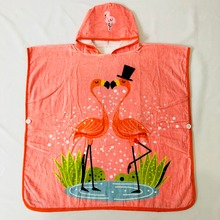 Large Size 70x70cm Pink Flamingo Colorful Bunny straberry Children's bathrobe/Infant hooded beach towel Ponchos