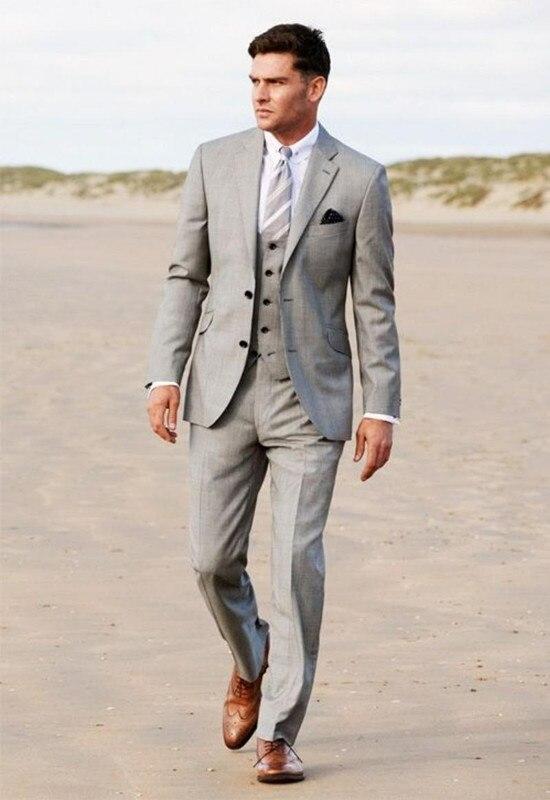bd3b4594aefe7 Negocio 2016 gris novio Esmoquin Delgado traje formal boda fiesta hombres  Trajes groomsman hombres Trajes (chaqueta + pantalones + Vest + TiE) en  Trajes de ...