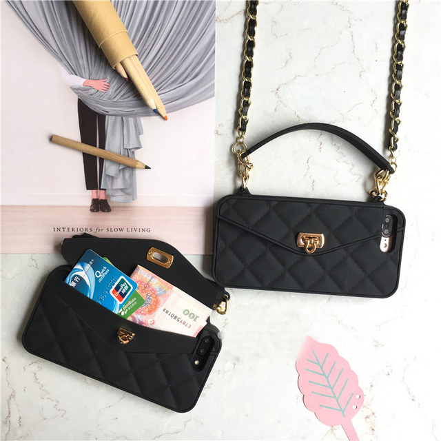 pretty nice c5352 44576 US $11.38 28% OFF|Fashion Crossbody Cell Phone Wallet Case Cover For iPhone  XS MAX XR X 8 7 6 6s Plus Case Card Slot Handbag Purse With Long Chain-in  ...