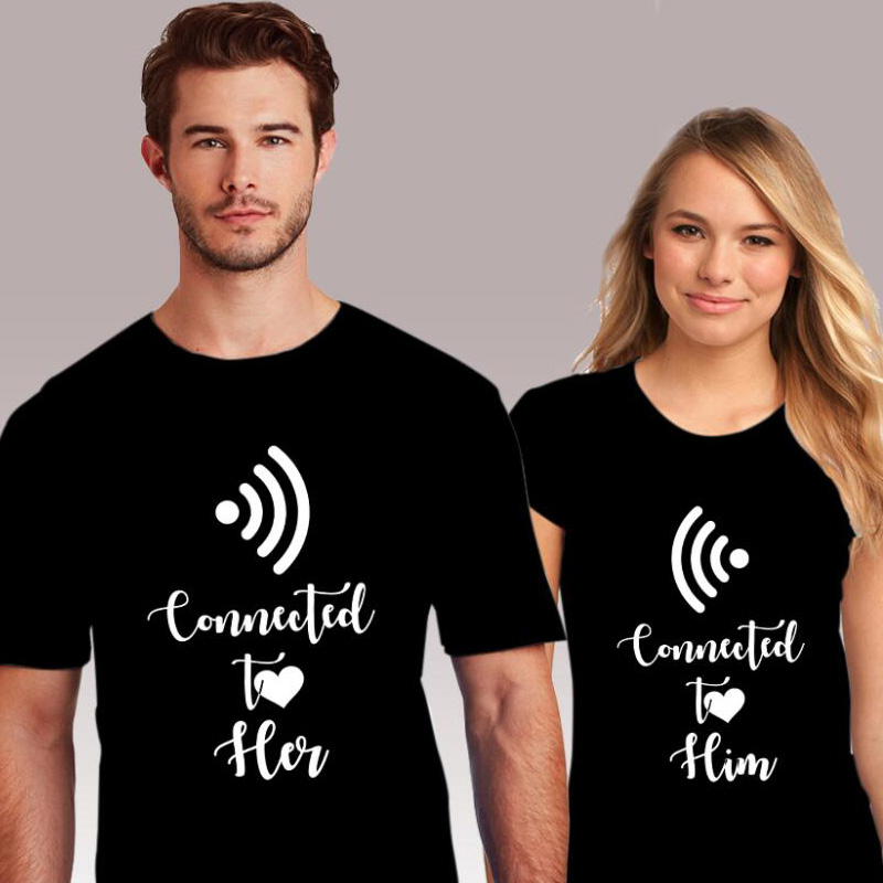 Pkorli Couple T Shirt Connected To Her Him T-Shirt Casual Hipster Short Sleeve Women'S T-Shirt Streetwear Tee Shirtt For Lovers