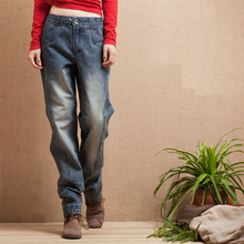 2016 Spring And Autumn Women Casual Wide Leg Jeans Female Denim Blue Straight Jeans Water Washed Long Pants