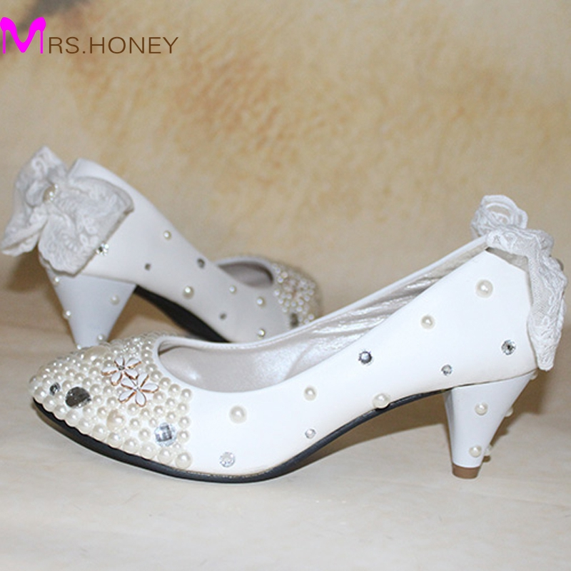 White Appliqued 2 Inches Middle Heel Sapatos Femininos Shoes Women Valentine Wedding Cone Heels Bridal Prom Party Pumps In Womens From On