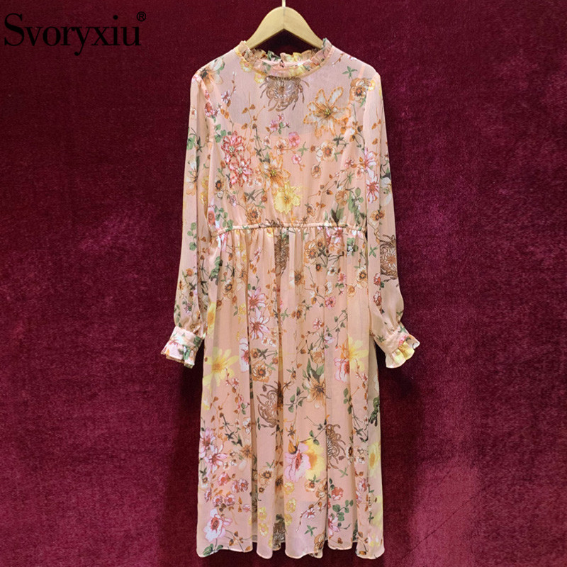 Svoryxiu Floral Print Beach Holiday Dress Women s Elegant Long Sleeve Crystal Diamond Designer Summer Midi