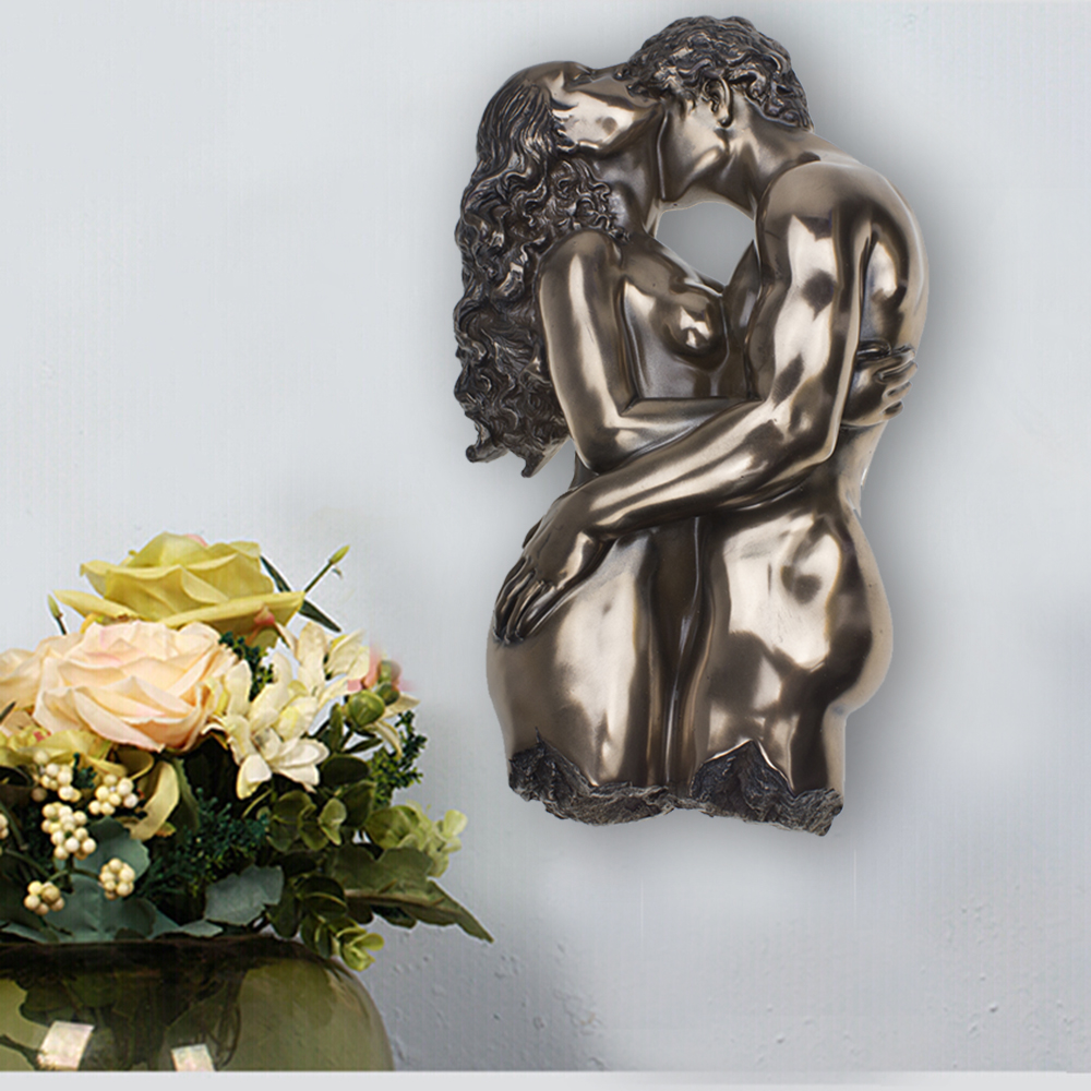 Passionate Lovers Embrace Statue Romantic Bronze Finish Sculpture