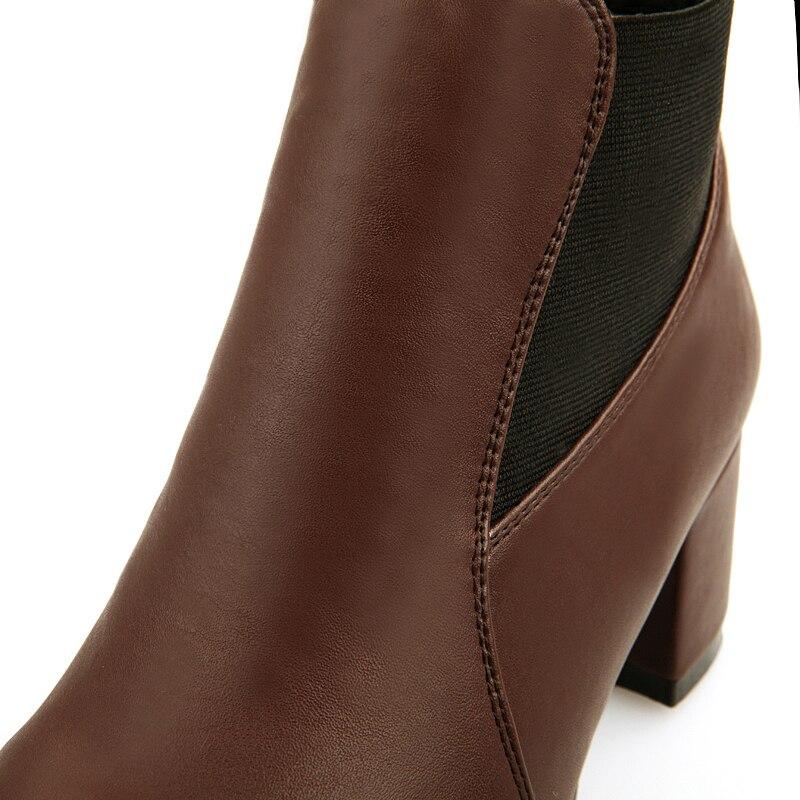 Chainingyee/пикантные ботильоны с острым носком в старинном стиле; модные эластичные женские мотоциклетные ботинки на среднем каблуке; Цвет черный, коричневый - 4