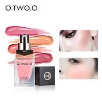 O. TWO. O fard à joues liquide miroitant cosmétique mélange naturel Blush pour le visage professionnel longue durée utilisation de la joue d'humidité 4 couleurs