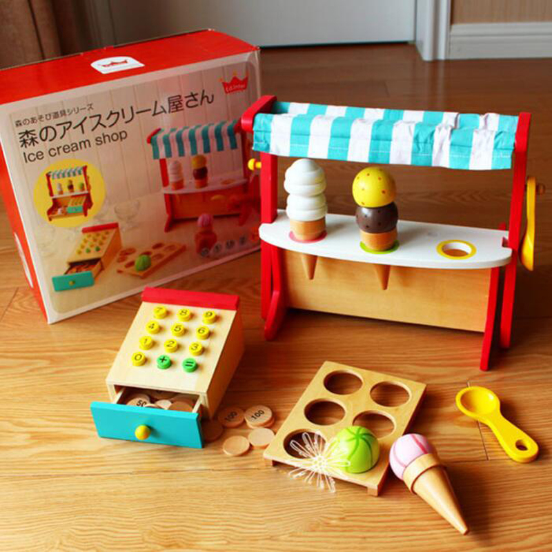Baby Toys Simulation Ice Cream Wooden Toys Set Pretend Play Kitchen Food Baby Toys Food Birthday/Christmas Gift free shipping kids children role pretend play wooden ice refrige ice cream set kitchen food toys new