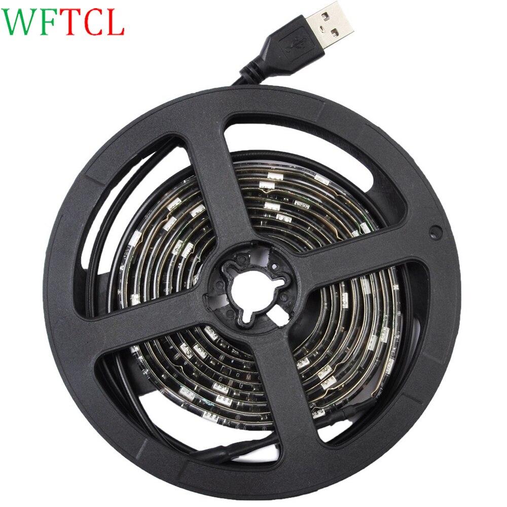 USB LED Strip Light 5050 RGB LED Tape Light DC5V 1M 30 LEDs adhesive back tape for HDTV, Flat Screen TV Accessories and Desktop