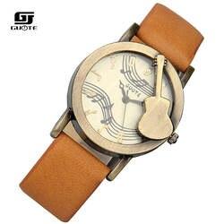Zegarek Damski Новая мода Дизайн Tuitar музыка Для женщин часы Известный бренд кварцевые часы Для женщин Повседневное Кожаные модельные туфли