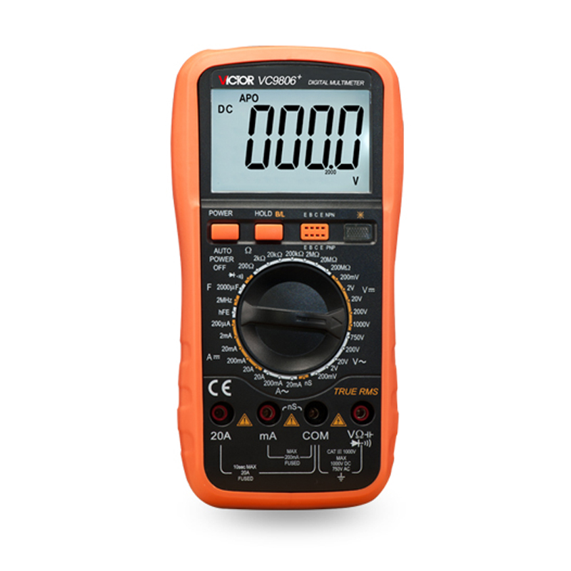 Digital Multimeter VC9806+ Ammeter Voltmeter Ohmmeter w/ Capacitance Frequency & hFE Test 30minutes automatic power off mains f47n multimeter pointer mechanical capacitance meter ammeter voltmeter pocket