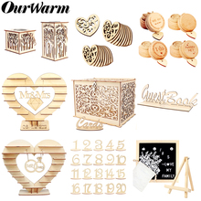 OurWarm DIY Rustic Wedding Wood Message Board Candy Bar Holder Card Box Ring Box Gifts For Guest Party Favors Wedding Decoration