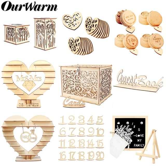 OurWarm DIY כפרי חתונה עץ הודעה לוח ממתק בעל כרטיס תיבת טבעת תיבת מתנות לאורחים המפלגה טובות חתונה קישוט