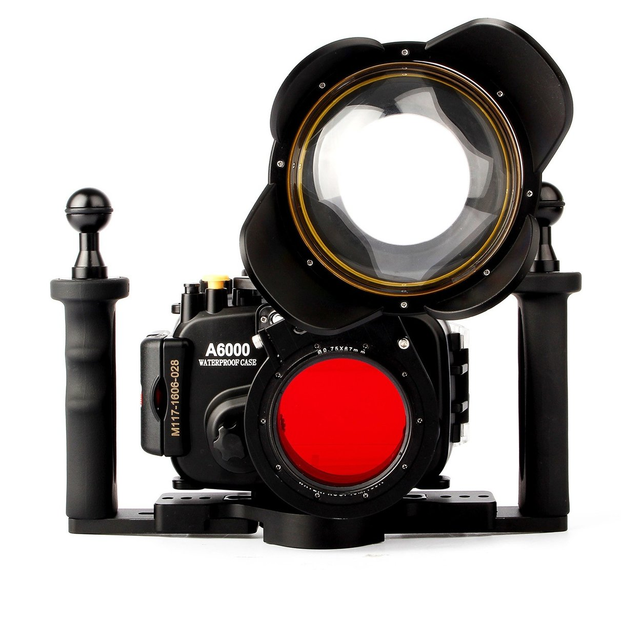 Waterproof Underwater Camera Housing Case Bag for Sony A6000 w/ 16-50mm Lens + Fisheye Dome Port + Two-hands Handle + Red Filte